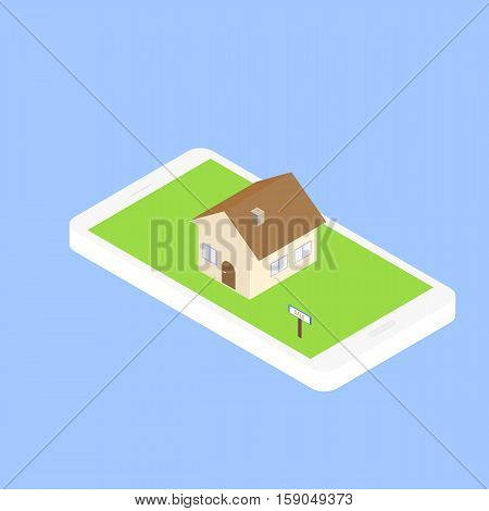 Search for real estate via the Internet through your smartphone. Finding a home to rent or buy. Vector illustration of an isometric 3D.