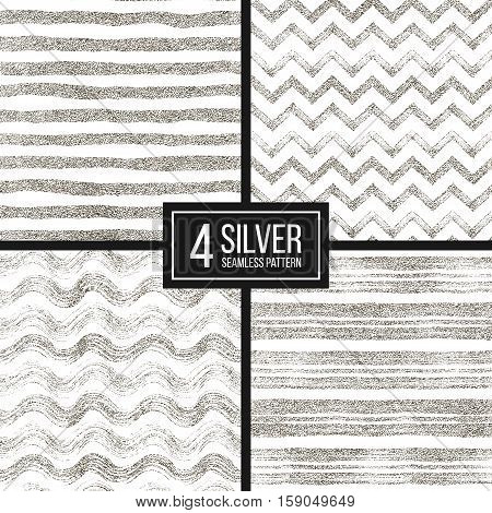 Set of seamless pattern of silver glitter stripes, zigzag chevron, wavy stripe, seamless texture silvery lines, wave, zig zag stripe, hand drawn vector pattern for paper, card, invitation, wedding, web