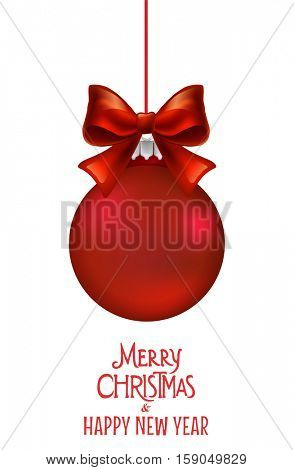 Christmas ornament with red ribbon. Vector Illustration.