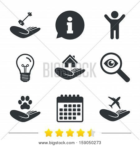Helping hands icons. Shelter for dogs symbol. Home house or real estate and key signs. Flight trip insurance. Information, light bulb and calendar icons. Investigate magnifier. Vector