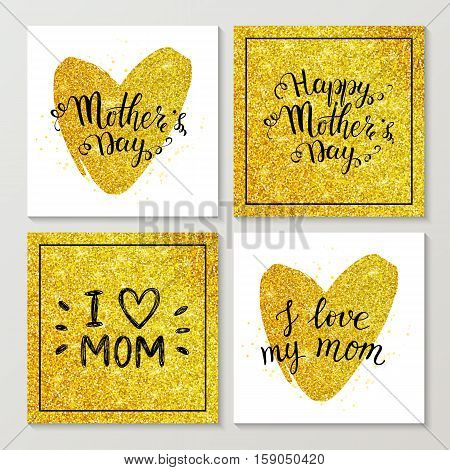 Set of Happy Mothers day cards with golden lettering and gold glitter heart, hand painted text, Mothers day typography golden background, vector illustration for greeting card, poster, banner, flyer