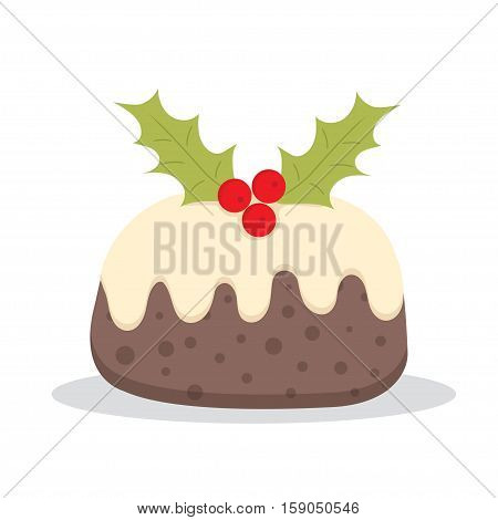 Traditional Christmas Pudding with Holly vector illustration