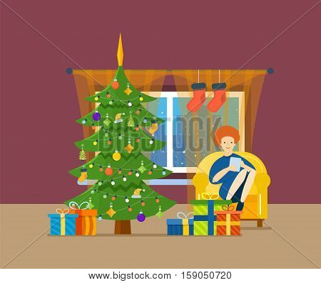 New Year festive atmosphere. Interior of the room, girl working in the tablet and resting in a room near the Christmas tree, it is in a good mood and in anticipation of holiday. Vector illustration.