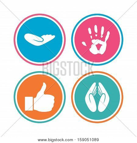 Hand icons. Like thumb up symbol. Insurance protection sign. Human helping donation hand. Prayer hands. Colored circle buttons. Vector
