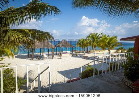 Sandy beach on Cozumel island Quintana Roo Mexico