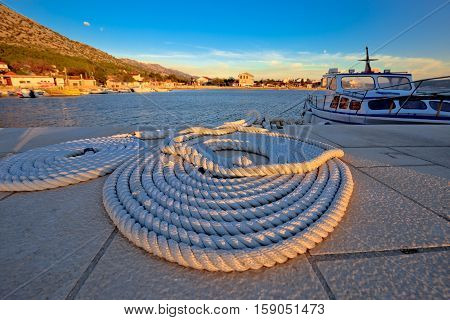 Boat Rope At Sunset View