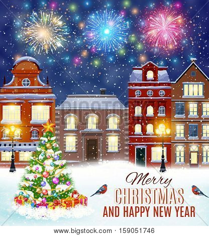 happy new year and merry Christmas winter old town street with christmas tree. fireworks in the sky. concept for greeting, postal card, invitation, template,