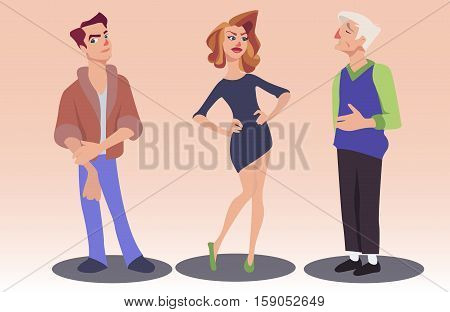 Vector illustration of woman and two men with different facial expressions. Cartoon young man and old-aged man admiring beautiful woman. Feelings and emotions concept design elements.