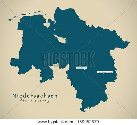 Modern Map - Niedersachsen DE Germany illustration
