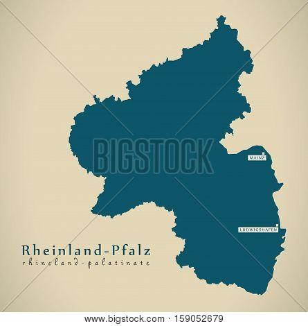 Modern Map - Rheinland Pfalz DE Germany illustration