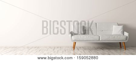 Modern interior of living room with white sofa panorama 3d rendering