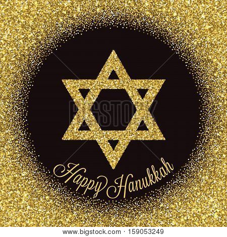 Happy Hanukkah greeting card. Star of David with gold glitter effect. Traditional Jewish symbol. Creative holiday vector illustration on a dark background. Flyer poster template for celebration.
