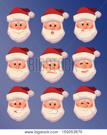 Vector set of Santa Claus with different facial expressions. Smiling, surprised, agitated, terrified, cheery, contented, with sticking out tongue. Merry Christmas and Happy New Year, 2017