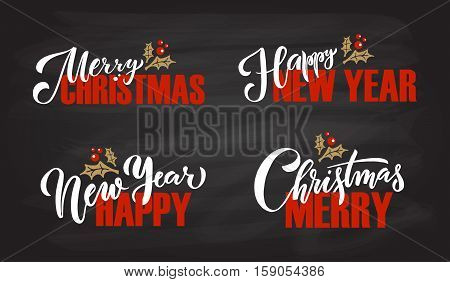 Lettering 'merry Christmas', 'happy New Year' For Christmas/new Year Greeting Card, Invitation Templ