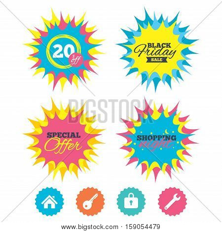 Shopping night, black friday stickers. Home key icon. Wrench service tool symbol. Locker sign. Main page web navigation. Special offer. Vector