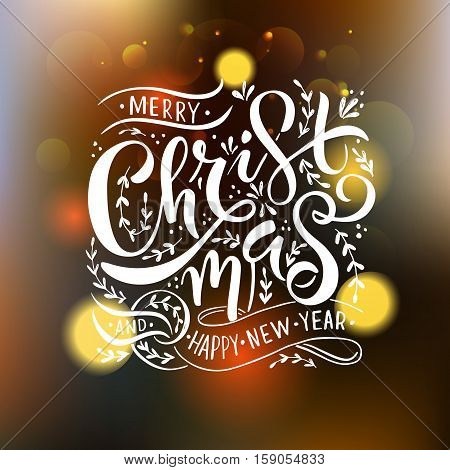 Lettering 'merry Christmas' For Christmas/new Year Greeting Card, Invitation Template