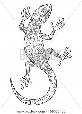 lizard coloring book for adults vector illustration. Anti-stress coloring for adult. Tattoo stencil. Black and white lines. Lace pattern