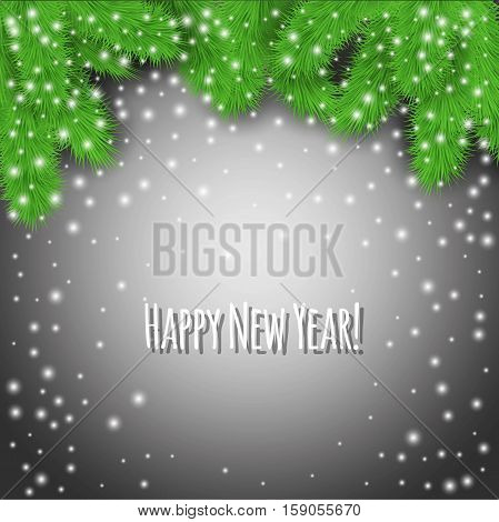 Happy New Year! Abstract gray winter background with fir branches and falling snowflakes. Stock vector.