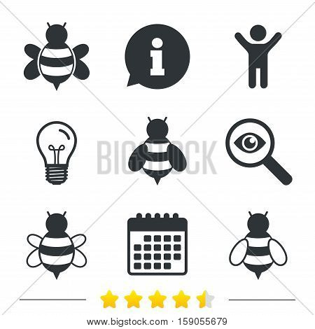 Honey bees icons. Bumblebees symbols. Flying insects with sting signs. Information, light bulb and calendar icons. Investigate magnifier. Vector