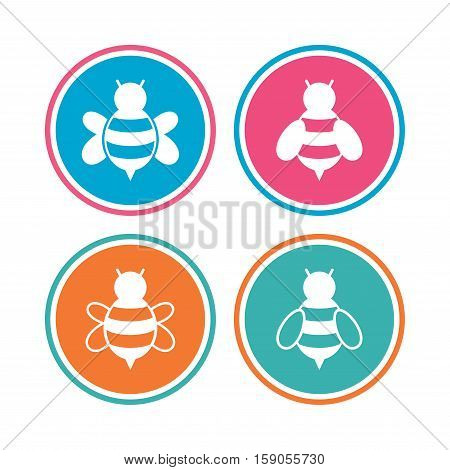 Honey bees icons. Bumblebees symbols. Flying insects with sting signs. Colored circle buttons. Vector