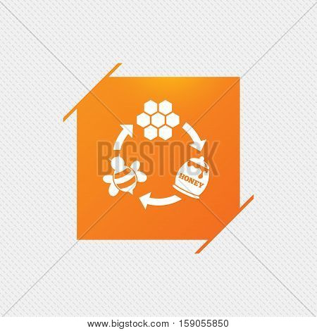 Producing honey and beeswax sign icon. Honeycomb cells symbol. Honey in pot. Sweet natural food cycle in nature. Orange square label on pattern. Vector