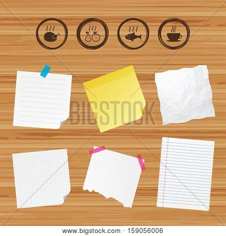 Business paper banners with notes. Hot food icons. Grill chicken and fish symbols. Hot coffee cup sign. Cook or fry apple and pear fruits. Sticky colorful tape. Vector