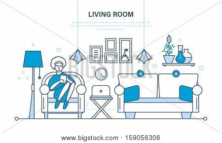 The cozy living room with furniture, a room for reception of guest, home furnishings and comfortable interior. Girl in the chair with the tablet. Illustration thin line design