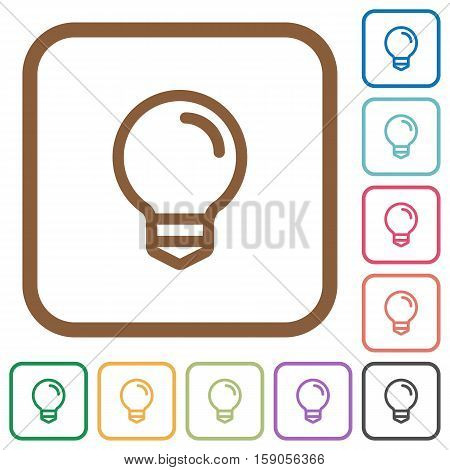 Light bulb simple icons in color rounded square frames on white background