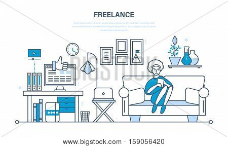 Remote work as a freelancer, modern information technology, the workplace, tools freelancer and working space. Illustration thin line design of vector doodles, infographics elements.