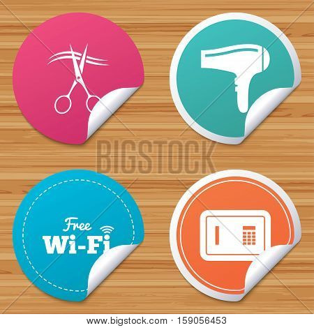 Round stickers or website banners. Hotel services icons. Wi-fi, Hairdryer and deposit lock in room signs. Wireless Network. Hairdresser or barbershop symbol. Circle badges with bended corner. Vector