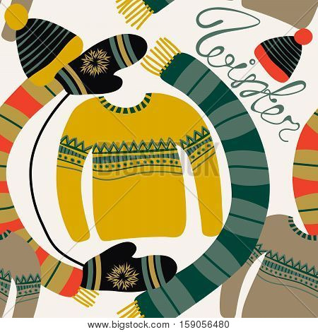 Seamless pattern with winter clothing. Warm woollies. Clothes for cold weather. Mittenshats scarf sweaters with ornament. Repeating background. Vector illustration eps10
