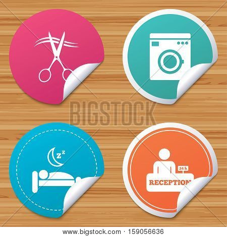 Round stickers or website banners. Hotel services icons. Washing machine or laundry sign. Hairdresser or barbershop symbol. Reception registration table. Quiet sleep. Circle badges with bended corner