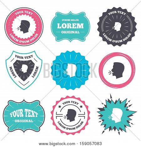 Label and badge templates. Talk or speak icon. Loud noise symbol. Human talking sign. Retro style banners, emblems. Vector