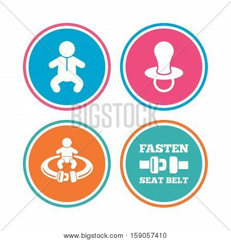 Baby infants icons. Toddler boy with diapers symbol. Fasten seat belt signs. Child pacifier and pram stroller. Colored circle buttons. Vector