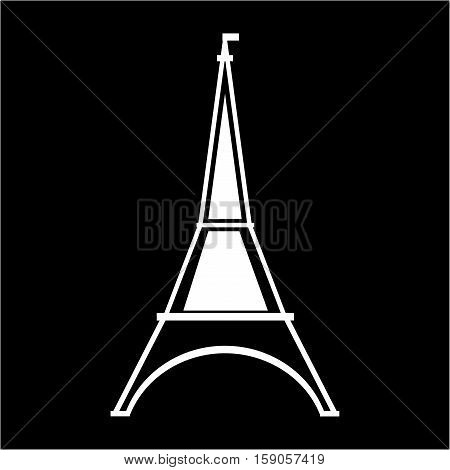 Eifel tower sign. White isolated silhouette on black background. Eiffel Tower as symbol of Paris and love. Template for t shirt apparel card poster. Design element. Vector illustration