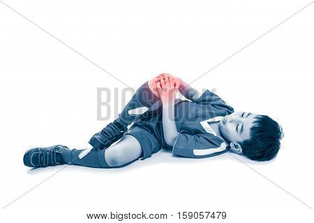Full Body Of Youth Asian Soccer Player With Painful At Knee. On White