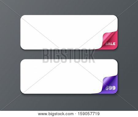 Set of horizontal banner template with curl corners. Realistic vector paper with curved corner. Paper temolate for print and web banner, flyer for sale and promo advertising text message