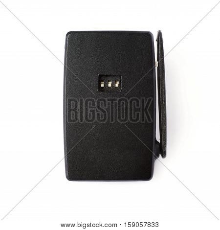 Black wireless flash trigger isolate over white background
