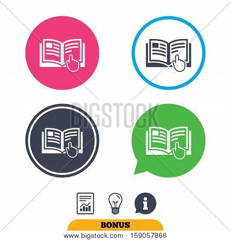 Instruction sign icon. Manual book symbol. Read before use. Report document, information sign and light bulb icons. Vector
