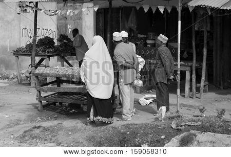 ZANZIBAR, TANZANIYA- JULY 16: local Zanzibar village market, Africaon July 16, 2016 in Zanzibar. black and white photo