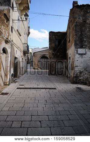 Walkway in Genzano di Lucania ancient city in the southern of Italy.