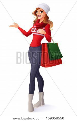 Beautiful smiling young woman in Christmas outfit standing with shopping bags and presenting. Cartoon style vector illustration isolated on white background.