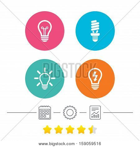 Light lamp icons. Fluorescent lamp bulb symbols. Energy saving. Idea and success sign. Calendar, cogwheel and report linear icons. Star vote ranking. Vector