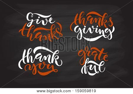 Hand Drawn Thanksgiving Typography Poster Set