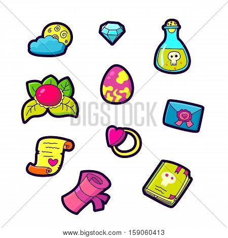 Set of Fashion patch badges with cute elements - letter, scroll, poison book, ring, moon, diamond, heart. Perfect design for stickers, pins, embroidery patches. Vector illustration isolated on white background.
