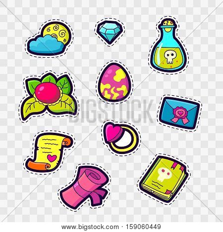 Set of Fashion patch badges with cute magic elements - letter, scroll, poison book, ring, moon, diamond, heart. Perfect design for stickers, pins, embroidery patches. Vector illustration.