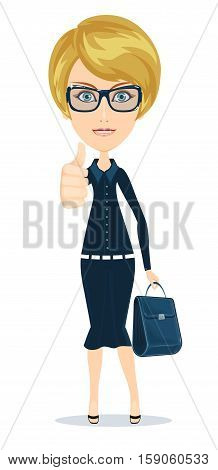 attractive young woman in elegant office clothes. Stock vector illustration