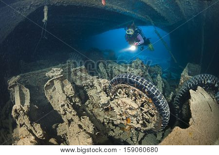 Motorcycles at  cargo of Thistlegorm shipwreck near Ras Muhammed, Red Sea, Egypt.