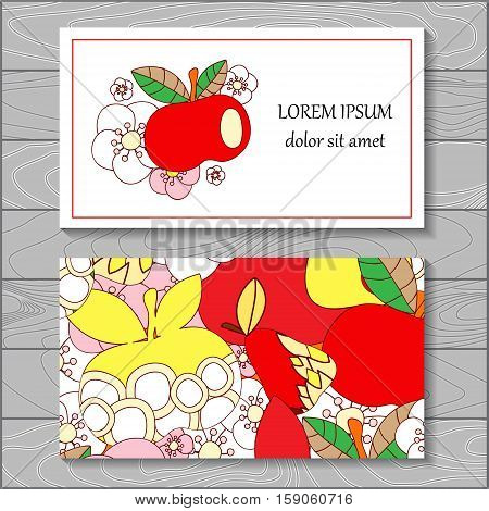 stock vector background. template for card cover poster. pattern with leaf flowers apple.