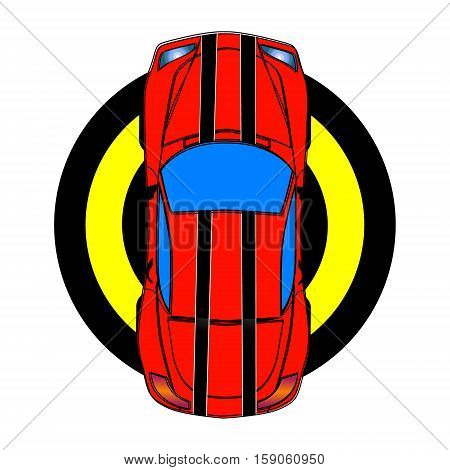 Red sport car with black stripes. Top view. Vector illustration.